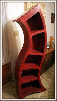 Picture of 6FT distressed red curved wood bookshelf, Dr.Seuss themed bookshelf