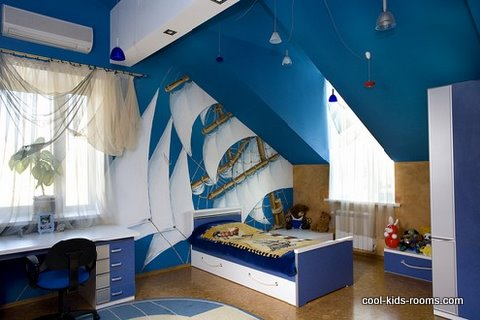 Boy's bedroom in cool blue colors