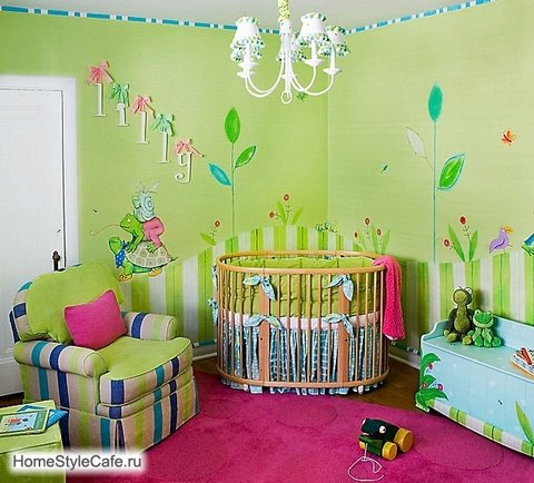 Green and pink nature themed nursery