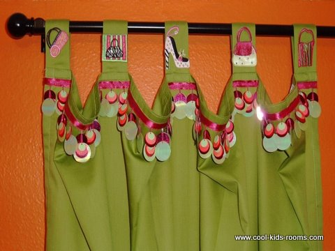 Funky green curtain for girls room