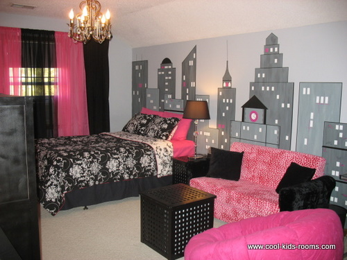 Black white and pink modern girls bedroom for Black white pink bedroom ideas