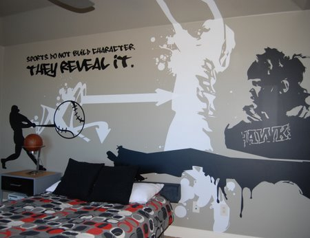 boys room, sports graffiti room, teen boys bedrooms, boys bedrooms ideas, bedroom decor ideas, boys bedrooms, kids rooms, decorating boys bedrooms,  childrens rooms, sports theme