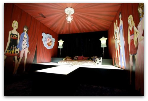 Teen girl's room decor, design runway bed