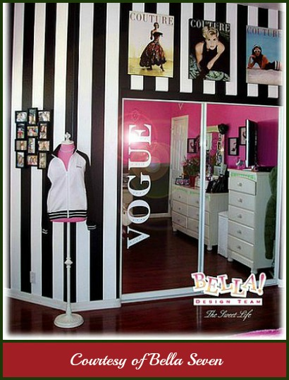 Modern girl's bedroom with white and black stripe wallpaper, magazine posters and mannequin