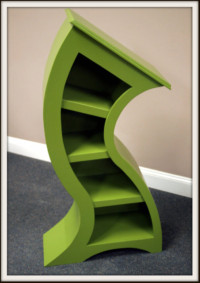 Picture of 4ft green curved bookshelf