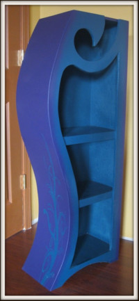 Picture of purple and blue 4ft wood bookshelf