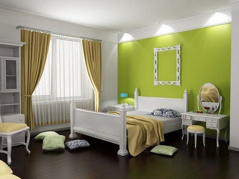 bedroom, painted bedroom, green bedroom
