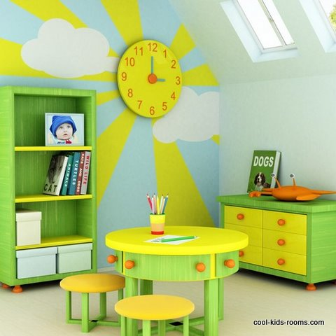 Kids Room In Tertiary Colors