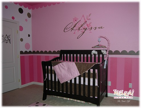Pink nursery with stripes and polka dots
