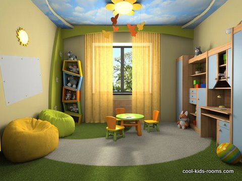 Colorful playroom decor for toddlers