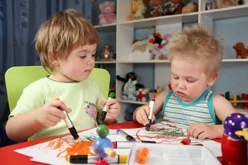 Kids having fun in a playroom