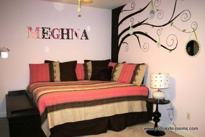 contemporary chic pink and brown wall mural bedroom decorating ideas