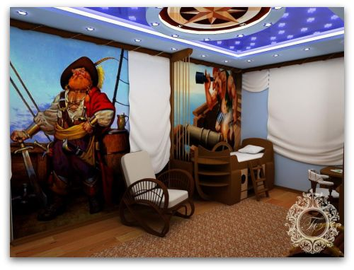 Pirate themed bedroom, navigational signs, pirate wall mural
