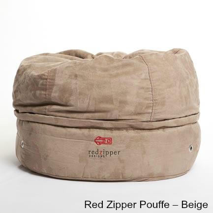 Red Zipper Pouffe – Beige