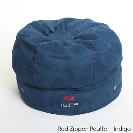 Red Zipper Pouffe – Indigo