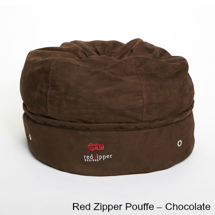 Red Zipper Pouffe – Chocolate