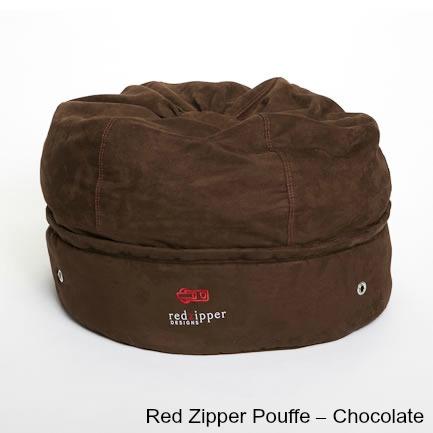 Red Zipper Pouffe – Chocolate