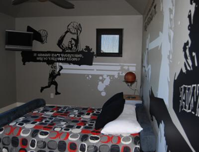 Sports Graffiti Bedroom, Denise Whinery, sports wall murals, sports theme bedding, cool bedrooms, bedroom decor ideas, decorating boys rooms, colors to paint a room, bedroom themes for boys