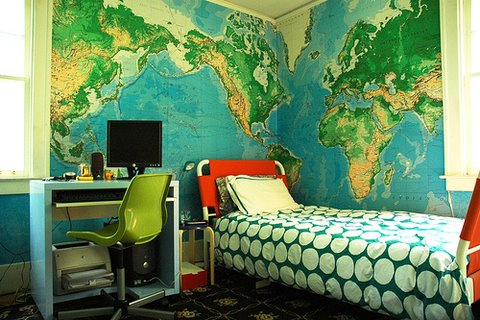 Nice walls decorating idea with world map on the wall