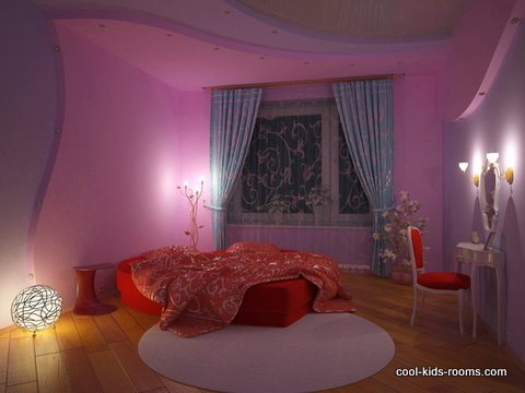 Modern girl's bedroom in lavander blue and red colors