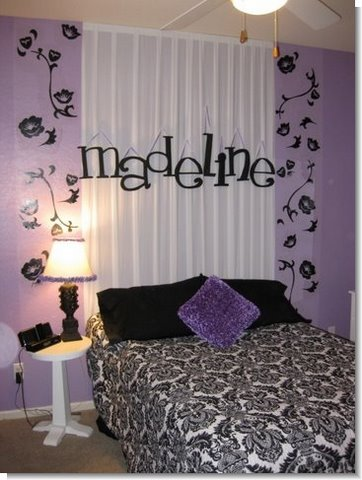 Black vinyl wall decals, bedroom decorating ideas for girls