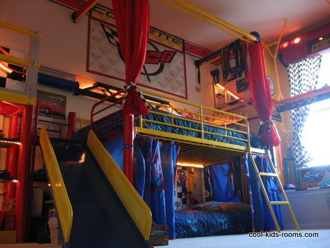 Boys bedroom with metal red and yellow bunkbed