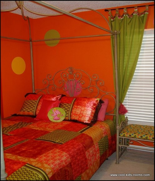 Orange Tween  Room, Arlene Franklin, bedroom decorating ideas for girls, window treatments, bedrooms, bedroom decor ideas, kids rooms, childrens rooms, girls bedroom, decorating kids rooms, girls bedrooms decor, teen girls room