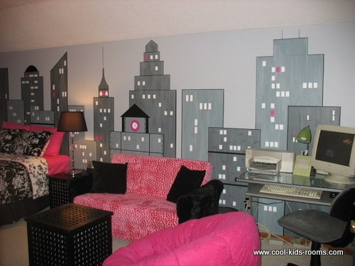 Black white and pink modern girls bedroom - New york girls room ...