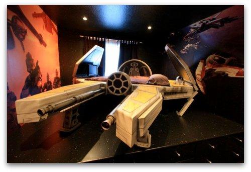 Star wars themed bedroom, starfighter bed