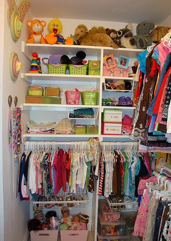 closet, storage, colorful shelves, girls rooms, organizing kids rooms