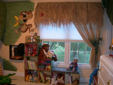 Jungle Themed Child Bedroom by Sandi Gaddes, book shelves, window treatments, boys room, jungle theme bedroom, bedrooms, boys bedrooms ideas, bedroom decor ideas, boys bedrooms, kids rooms, decorating boys bedrooms,  childrens rooms, girls bedroom