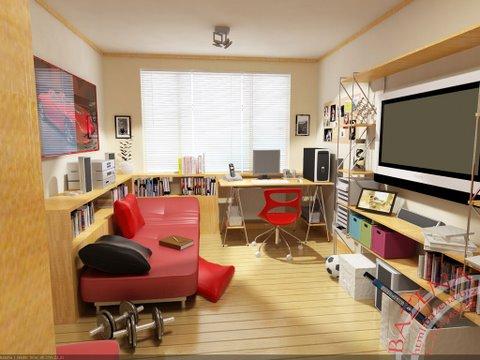 Moden bedroom for boy. Nice space savings shelves.