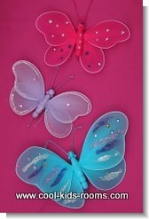 Butterfly removable wall stickers, bedroom decorating idea for girls rooms