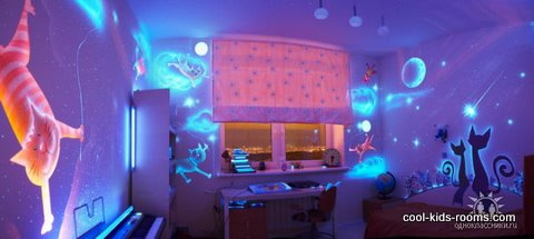 wall murals, glow in the dark painting, kids rooms