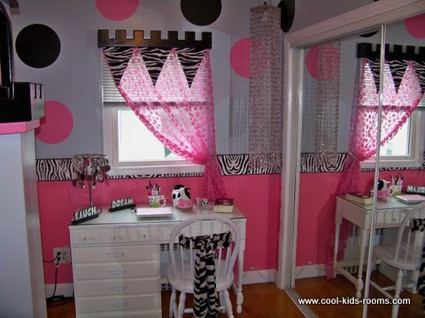 Pink, white and black castle themed girl's bedroom